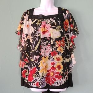ALYX Flutter Dolman Sleeves Floral top 3X